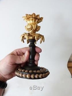 Paire De Bougeoirs Napoléon III En Bois Noirci Et Bronze Doré, XIX ème