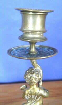 Paire De Bougeoirs Napoléon III En Laiton Et Bronze émaillé Cloisonné, XIX -ème