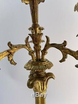 Paire De Candelabres En Bronze Napoleon III Epoque Restauration 4 Feux H2204