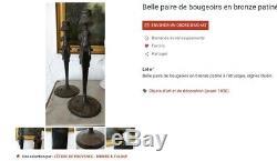 Paire De Candélabres En Bronze Patiné De Style Néo-grec d'époque Napoléon III