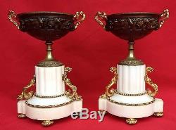 Paire De Cassolettes / Coupes Marbre Et Bronze Napoleon III