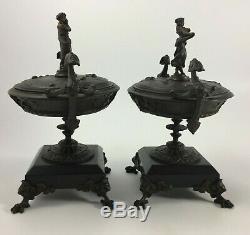 Paire De Cassolettes En Bronze Napoleon III Decor A L Antique Marbre Noir H848