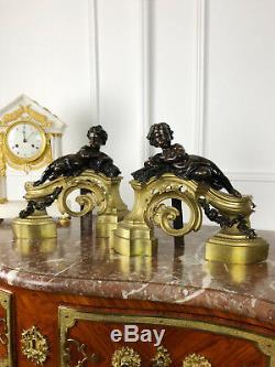 Paire De Chênets D'époque Napoléon III En Bronze Ciselé Doré De Style Louis XV