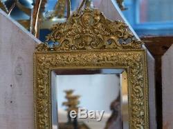 Paire De Double Appliques à Miroir Napoléon III En Bronze Doré, Mascaron