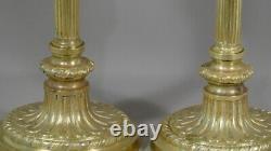 Paire De Flambeaux Louis XVI En Bronze Doré, époque Napoléon III