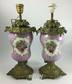 Paire De Lampe En Porcelaine De Paris Napoleon III Bronze Decor Romantique H755