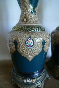 Paire De Lampes A Huile Moderateur L+b Ceramique Bronze XIX Siecle