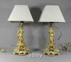 Paire De Lampes Aux Amours En Bronze Doré, époque Napoléon III