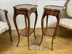Paire De Petites Tables En Marqueterie Ornées De Bronze Epoque Napoleon III