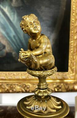 Paire De Putti D'époque Napoléon III En Bronze Et Porcelaine De Style Louis XVI