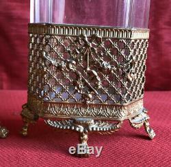 Paire De Vase Bronze Et Cristal À Décor Louis XVI Époque Napoleon III