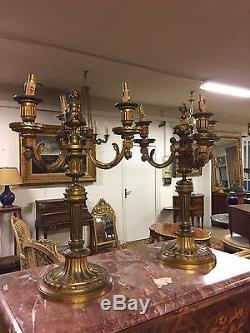 Paire De candélabres Style Louis XVI bronze doré Napoléon III