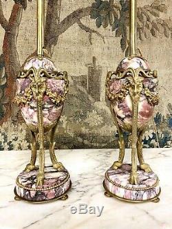 Paire Durnes En Marbre Et Bronze Doré, Napoléon III, Montées En Lampe
