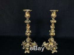 Paire Flambeaux En Bronze Patine Doree Pied Tripode Napoleon III 19eme C1496