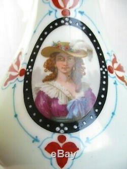 Paire Lampe Petrole Femme Portrait XIX Napoleon III Porcelaine Emaille Bronze