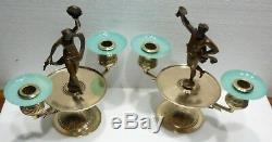 Paire Superbes CHANDELIERS Anciens Bronze XIXe Statuettes CANDLE Napoléon III