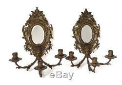 Paire appliques murales Louis XIV 3 feux bronze miroir Napoléon III XIXème