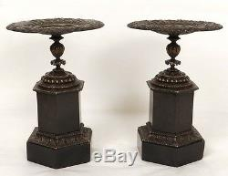 Paire cassolettes coupes bronze marbre mascarons palmettes Napoléon III 19è