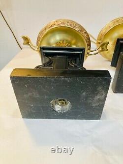 Paire cassolettes marbre noir bronze décor lézard Napoléon III dlg Barbedienne