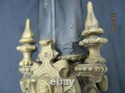 Paire chandeliers marbre bronze decor cherubins putti epoque 19eme candlestick