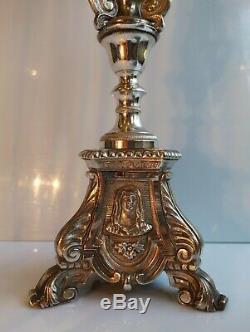 Paire chandeliers piques cierges bronze et metal argenté Epoque Napoléon III