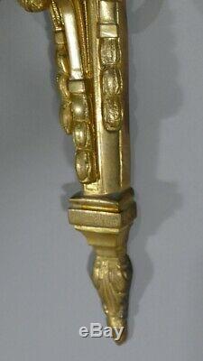 Paire d'Appliques Louis XVI En Bronze Doré Ciselé, époque Napoléon III