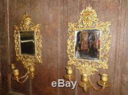 Paire d' anciennes appliques murales avec miroir, en bronze, Napoléon III
