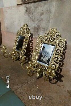 Paire d'applique ancienne XIX ème bronze Miroir Bougeoir 3 feux Nap 3 doré
