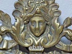Paire d'appliques en bronze Napoléon III miroirs biseautés à 3 bras de lumière