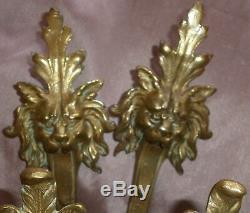Paire d' embrases Napoléon III bronze doré Mascaron femme plume perle & lion
