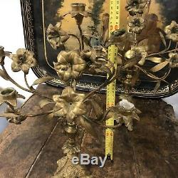 Paire de Bougeoir Eglise Bronze Doré Ancien Chandelier Ange Napoléon III