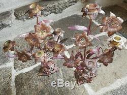Paire de Bougeoirs d'Eglises-Fleurs-Lys en Bronze Chandeliers/Candélabres