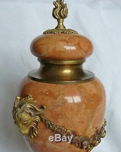 Paire de CASSOLETTES Bronze doré et Marbre XIXé Napoléon III Têtes de Béliers