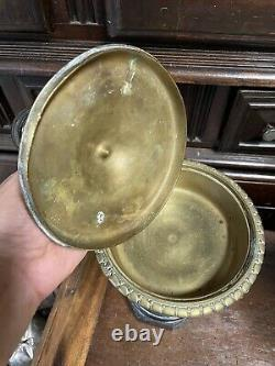 Paire de Cassolette Bronze Doré Marbre Empire Napoleon III Pendule Coupe Ancien