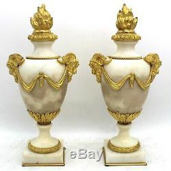 Paire de Cassolettes Chandeliers Bougeoirs d'époque Napoleon III-Bronze-du 19ème