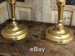 Paire de Chandelier Bougeoir Ancien Bronze Doré Candlestick XIXeme Napoléon III