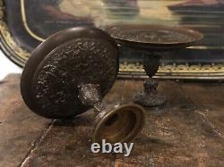 Paire de Coupe Cassolette Bronze XIXeme Napoléon III Pendule Ancien Antique