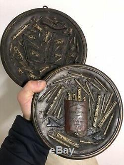 Paire de Plaque Bronze Publicité Tabac Caporal Cigarette Napoléon III Ancien