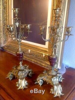 Paire de Superbes Candélabres en bronze et laiton doré