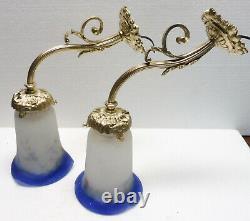 Paire de belles APPLIQUES anciennes en bronze et pâte de verre XIXème