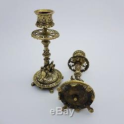 Paire de bougeoir en bronze décor de chimère griffon french antique victorian