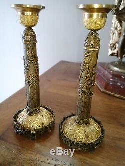 Paire de bougeoirs Néo Gothique Bronze Doré XIXe empire Candélabre Notre Dame