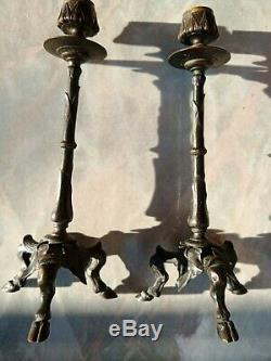 Paire de bougeoirs en bronze Epoque Napoléon III