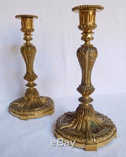 Paire de bougeoirs en bronze ciselé & doré, style Louis XVI, époque Napoleon III