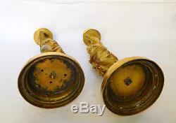 Paire de bougeoirs flambeaux Bacchantes BRONZE DORE, époque XIXe Napoléon III