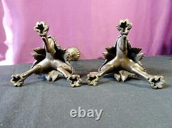Paire de bougeoirs flambeaux bronze patine médaille XIXéme pieds chimére