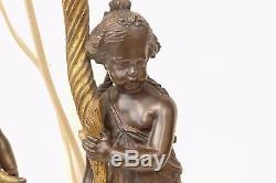 Paire de bougeoirs montés en lampe en bronze doré et patine XIXé n°145