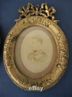 Paire de cadres photo en bronze doré Louis XVI epoque Napoleon III