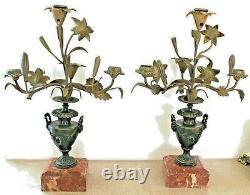 Paire de candélabres, bougeoirs, girandoles napoléon III