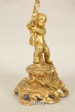 Paire de candélabres bronze doré bambins style Louis XV Napoléon III